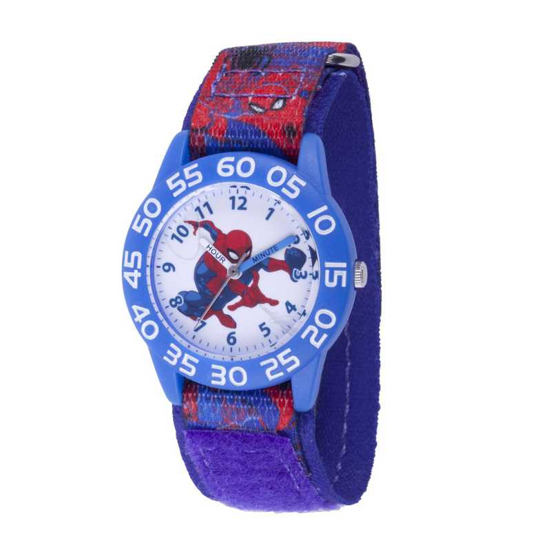WMA000189: Plastic Marvel Boys SpdrM Action Watch Red/Blu Prnt Strp
