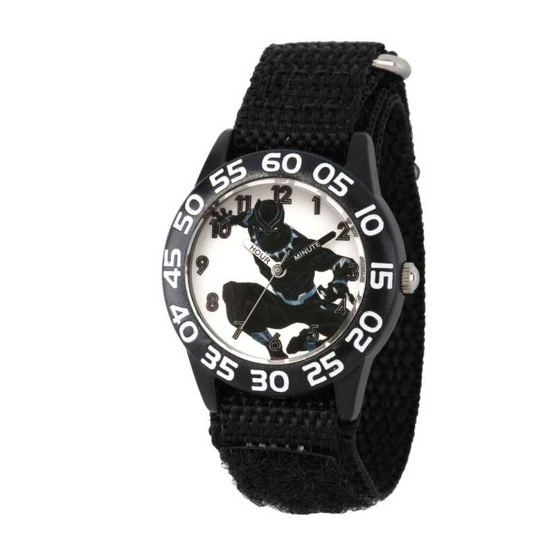 WMA000227: Plastic Marvel Boys Blk Pnthr Kneeling Watch Blk Strap
