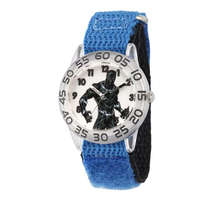 WMA000230: Plastic Marvel Boys BlkPnthr Clear Watch Blu/Blk NyStrp