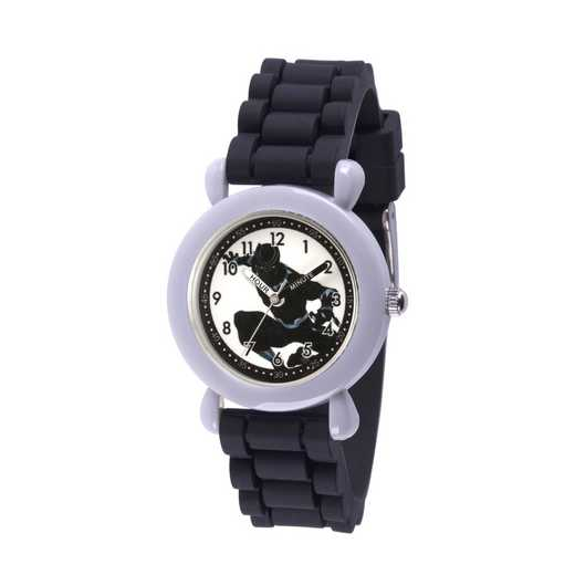 WMA000235: Plastic Marvel Boys BlkPnthr Kneeling Watch Blk SilStrp