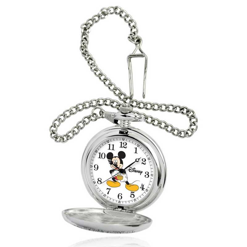 W000459: Silver Alloy Disney Mickey Mouse Pocket Watch