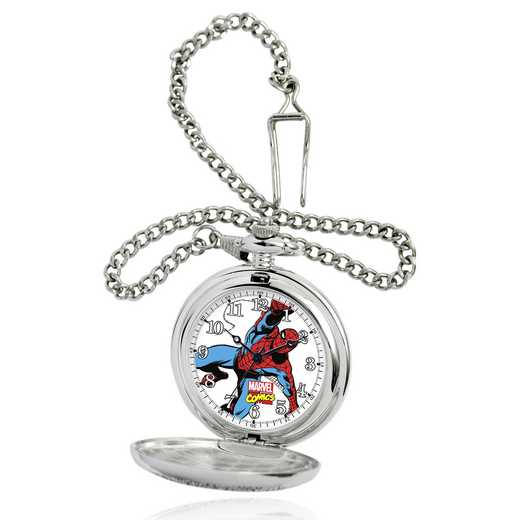 W001742: Silver Alloy Spider-Man Men's Pocket Watch