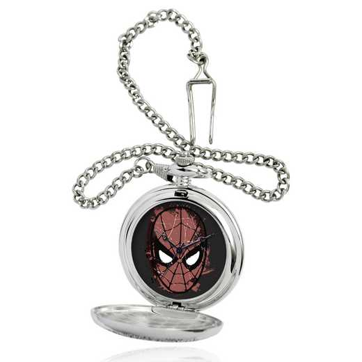 W001746: Silver Alloy Spider-Man Dark Mens Pocket Watch