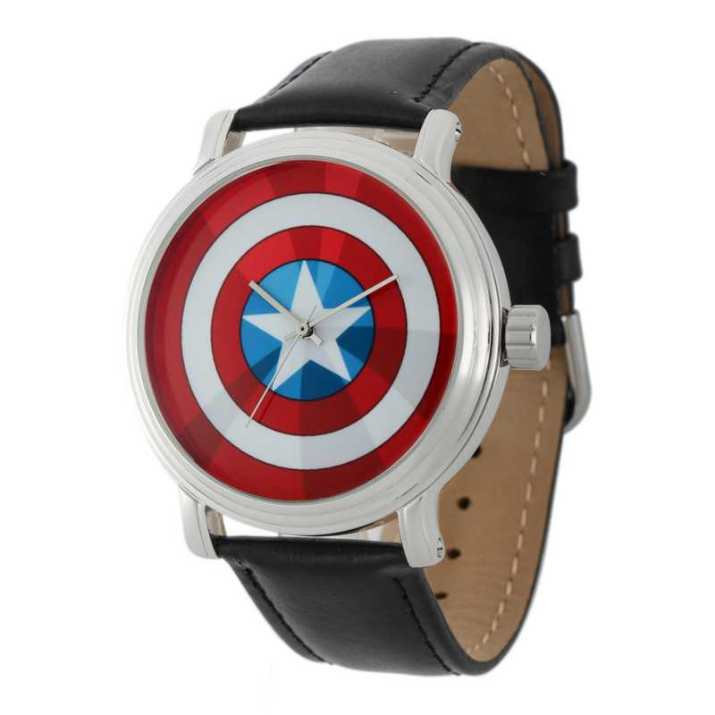 W001770: Silver Alloy Capt Amer Vintage Watch Blk Leather Strap