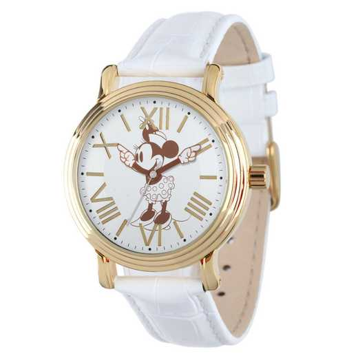 W001859: YG Vintg Alloy Minnie Womens Watch Wh Leat Strap