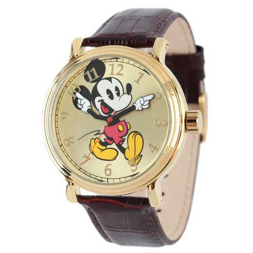 W001867: YG Vintg Alloy Mickey Mens Watch Brn Lea Strap