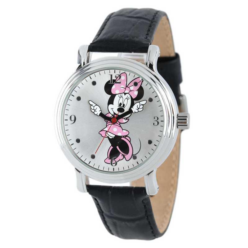 W001875: SIL Vintg Alloy Minnie Womens Watch Blk Leat Strap