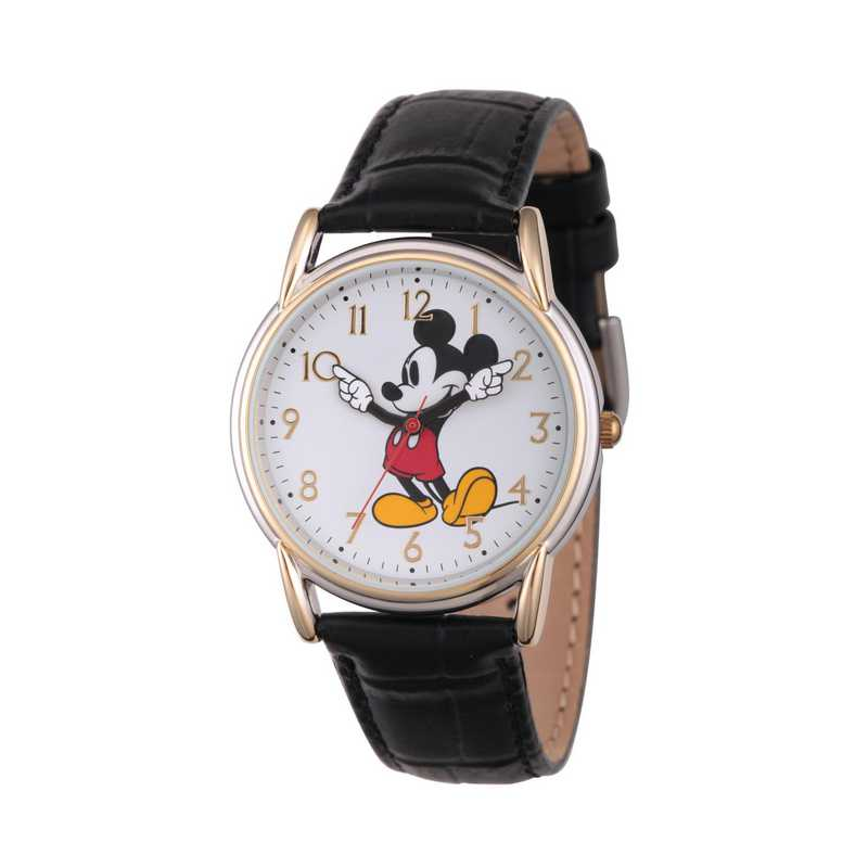W002755: TT Cardiff Alloy Mickey Womens Watch Blk Lea Strap
