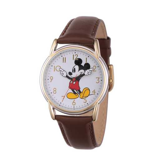 W002756: TT Cardiff Alloy Mickey Womens Watch Brn Leat Strap