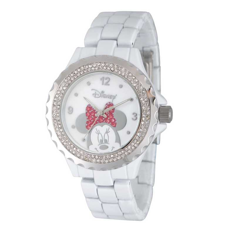 W002895: White Alloy Disney Minnie Women's Enamel Sparkle Watch