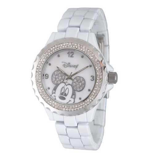 WDS000078: White Alloy Disney Mickey Women's Wh Enam Sparkle Watch