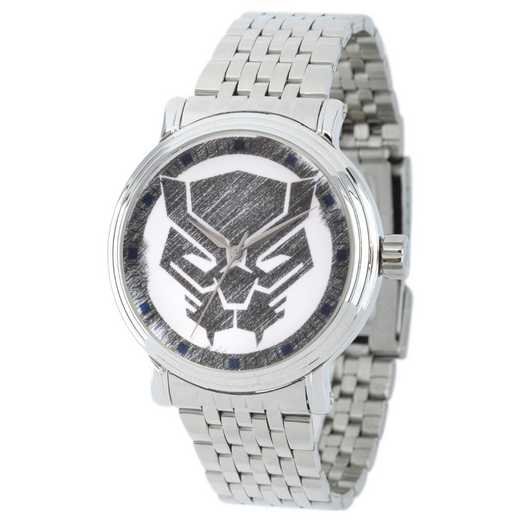 WMA000199: Sil Alloy Marvel Blk Panther Mens Watch Stnls Stl Brac