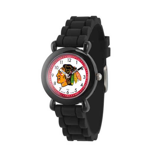 GT000399: Gametime NHL Chicago Blackhawks Kids' Black Plastic Watch