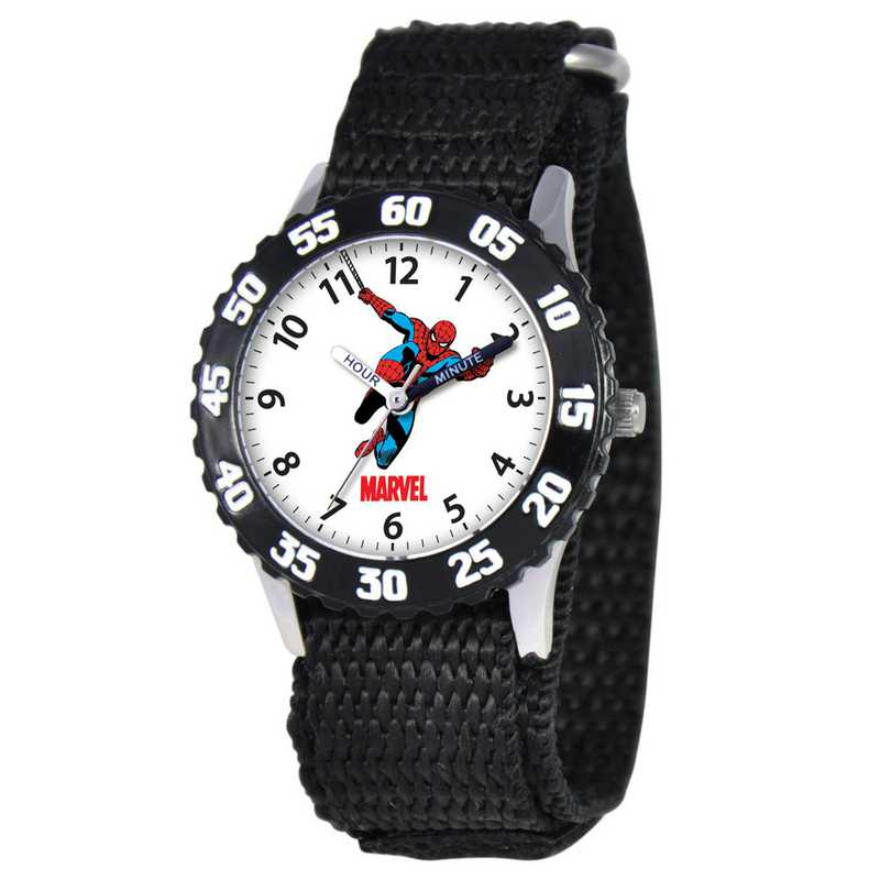 W000106: STNLS STL Marvel Boys SpdrMan Jumping Watch Blk Ny Strap