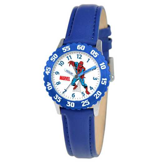W000108: STNLS STL Marvel Boys SpdrMan Watch Fhting Blu Ny Strap