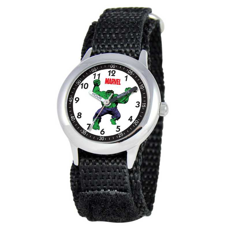 W000127: STNLS STL Marvel Boys Mad Hulk Watch Black Nylon Strap