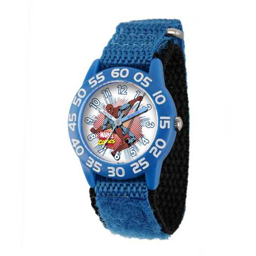 W001721: Plastic Marvel Boys SpdrMan Comic Watch Bl Ny Strap