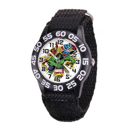 W001724: Plastic Marvel Boys Crashing Hulk Watch Blk Ny Strap