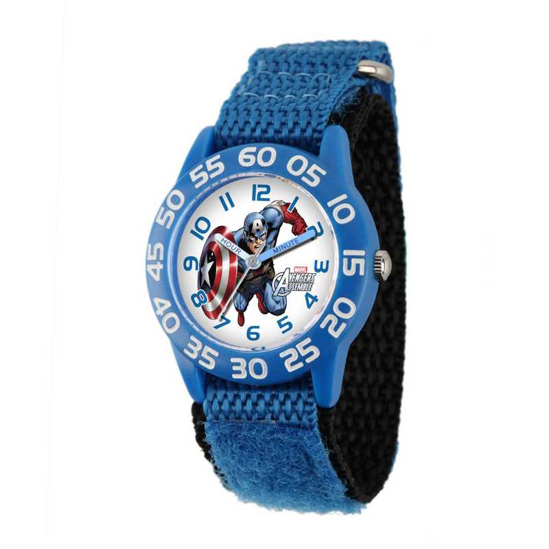 W001726: Plastic Marvel Boys Flying CaptnAmer Watch Blu Ny Strap