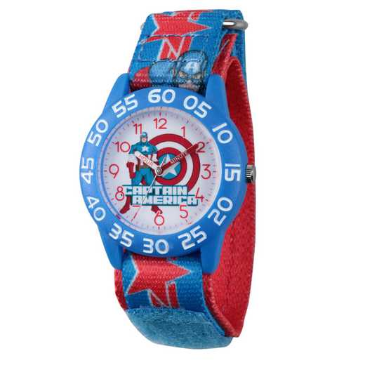 W003211: Plastic Marvel Boys Cpt Amer Watch Blu/Red Print Strap