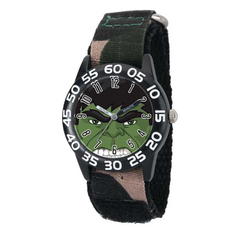 W003251: Plastic Marvel Boys Hulk Black Watch Camo Nyl Strap