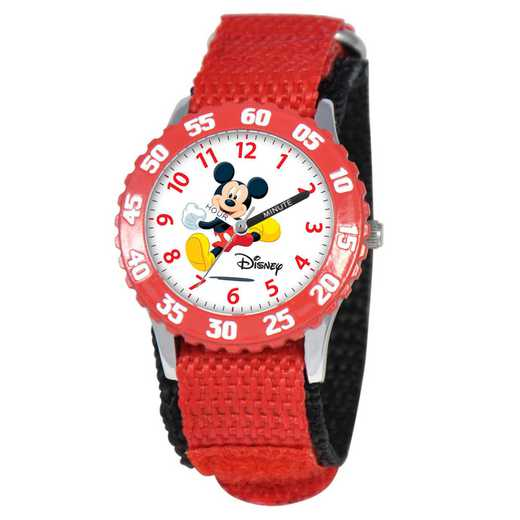 W000003: STNLSSTL Disney Boys Mickey Jump Red Watch Nylon Strap