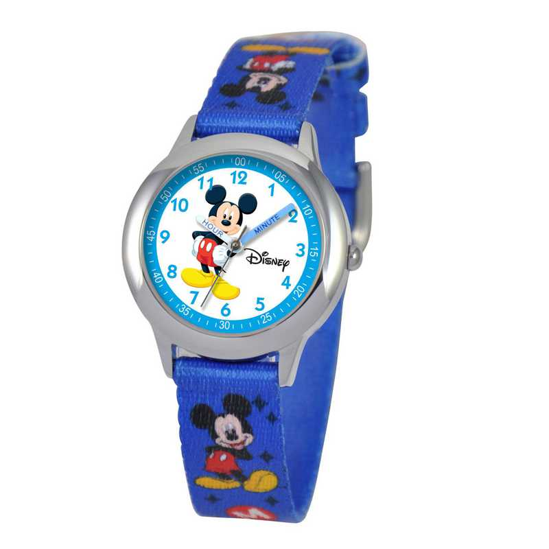 W000014: STNLSSTL Disney Boys Mickey Watch Blu Prnt Strap