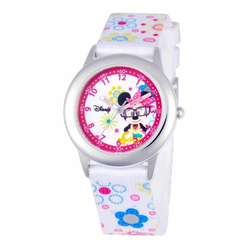 W000364: STNLSSTL Disney Girls Minnie Watch White Prnt Strap