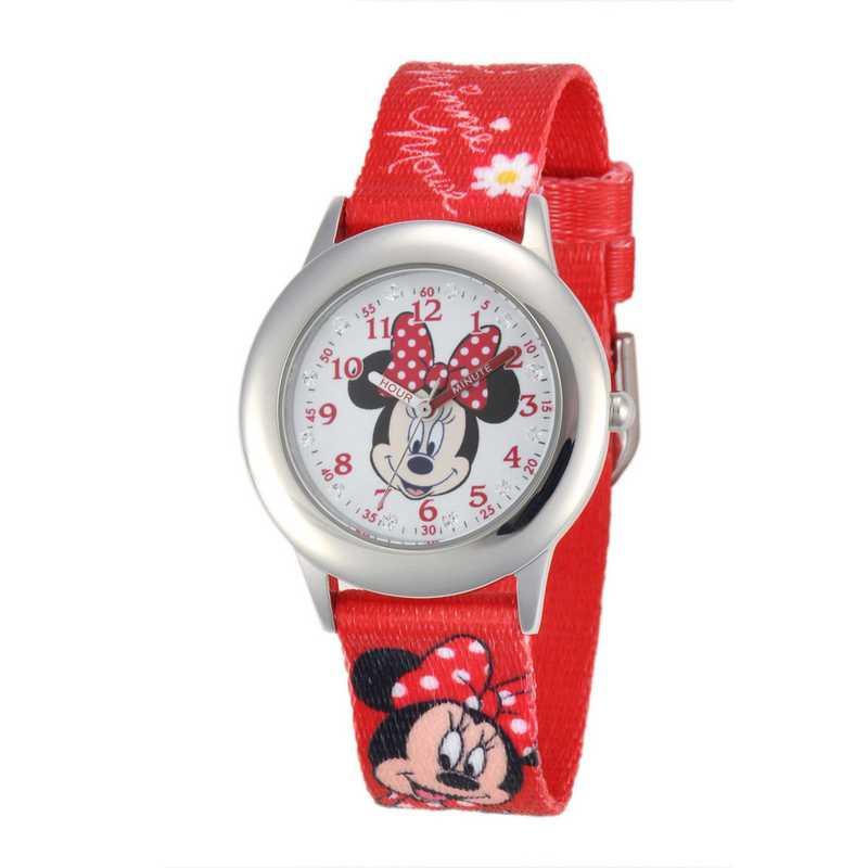 W001917: Plastic Disney Girls Minnie Red Watch Prntd Nyl Strap