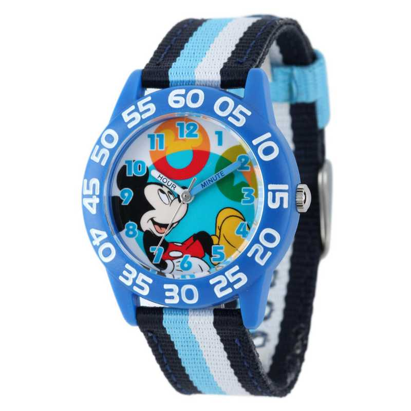 W001945: Plastic Disney Boys Mickey Blu/Blk Watch Prntd NylStrap