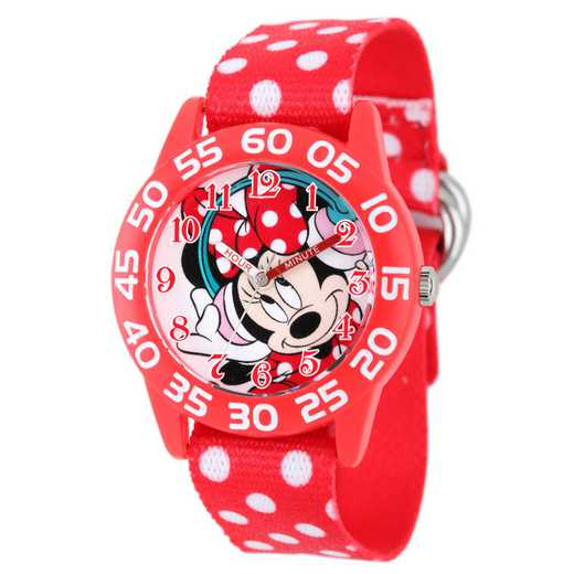 W001949: Plastic Disney Gir Music Minnie Red Watch Dot Nyl Strap
