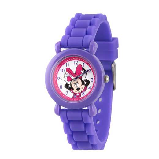 WDS000008: Plastic Disney Girls Bow Minnie Purple Watch Sil Strap