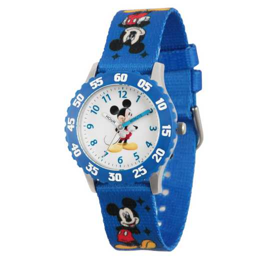 WDS000086: STNLSTL Dis Boys Silly Mickey Blu Watch Prnt NylonStrap