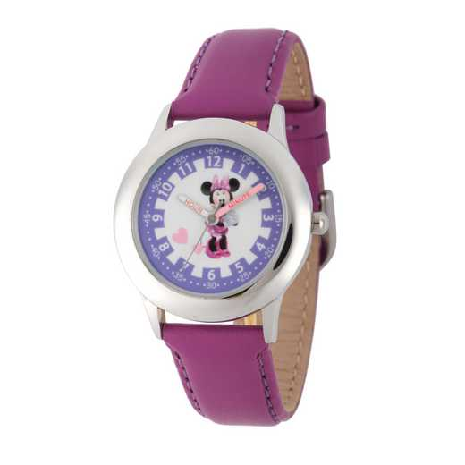 WDS000089: STNLSTL Disney Girls Blushin Minnie Purp Watch LeaStrap