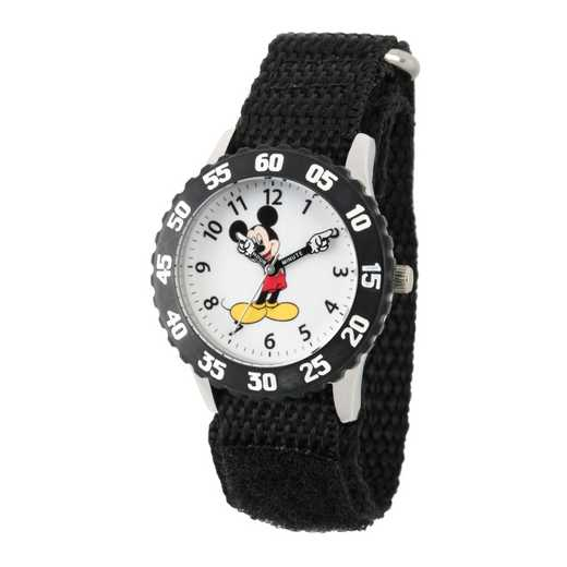 WDS000100: STNLSTL Disney Boys Pointing Mickey Blk Watch Ny Strap