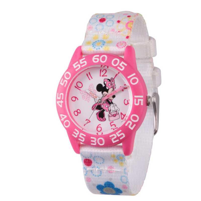 WDS000164: Plastic Disney Girls Pink Minnie Watch Wh Fabrc Strap