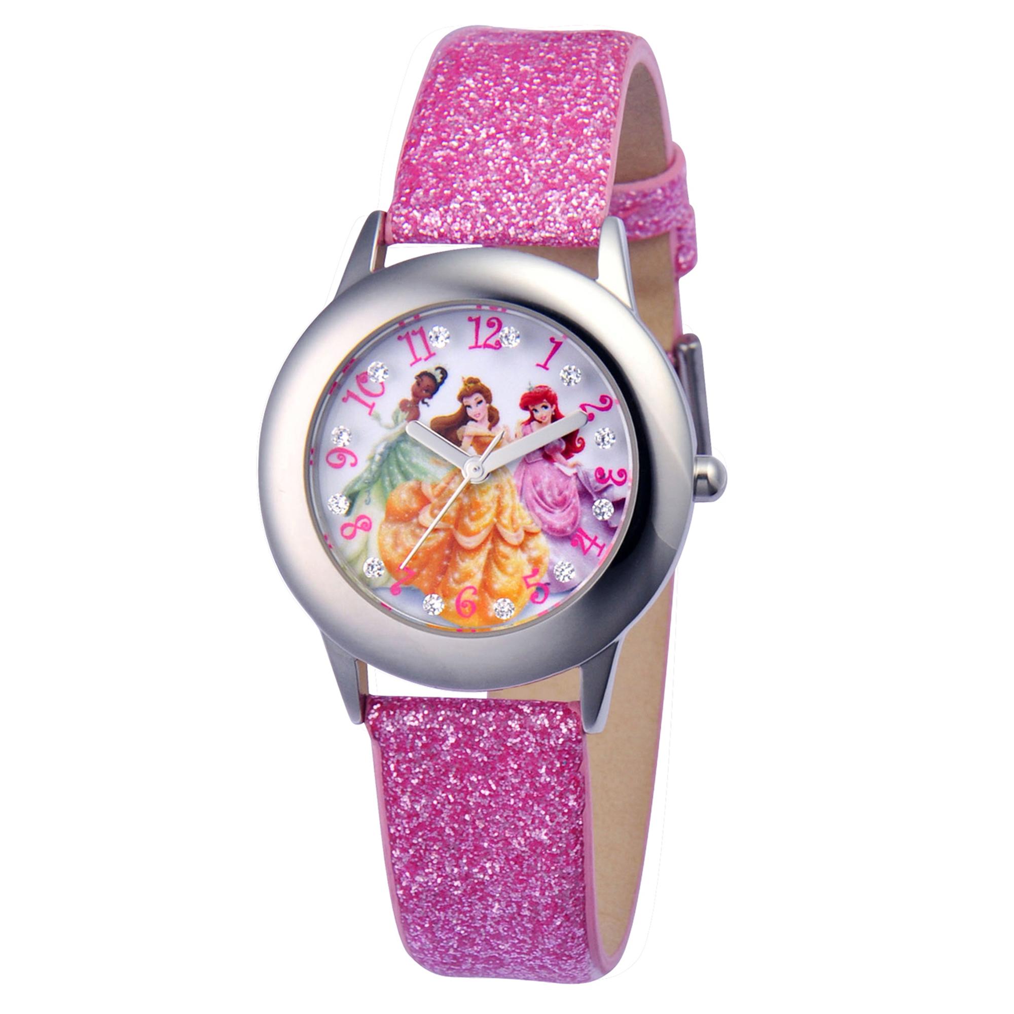 girls' disney princess tiana-ariel & belle telling time steel/glittery leather watch
