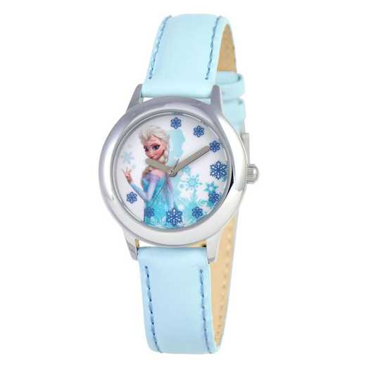 W000971: STNLS STL Girls Dis Frzn Elsa Watch Lht Blue Lea Strap