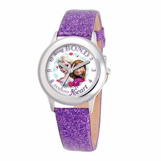 W000972: STNLSSTL Girls Dis AnnaElsa Watch Purple Glit Lea Strap