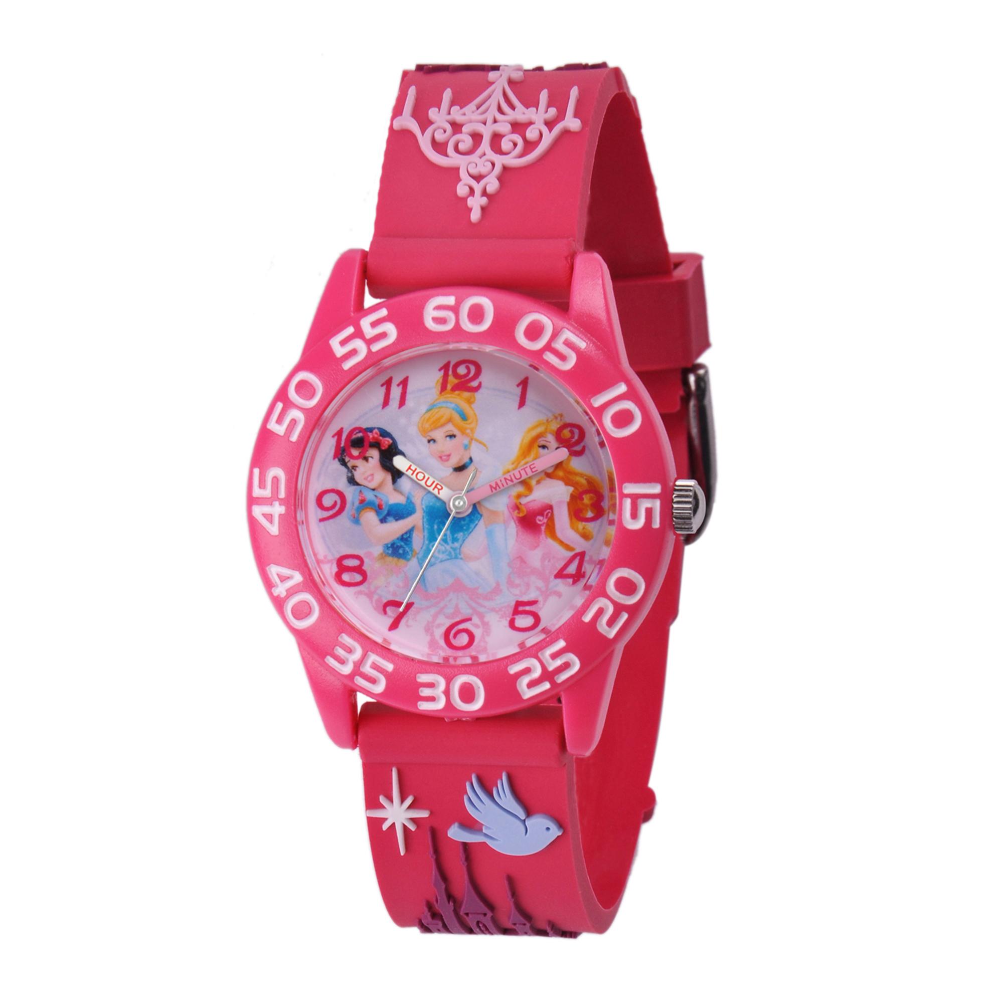girls' disney princess snow white-aurora & cinderella telling time plastic/3d plastic watch