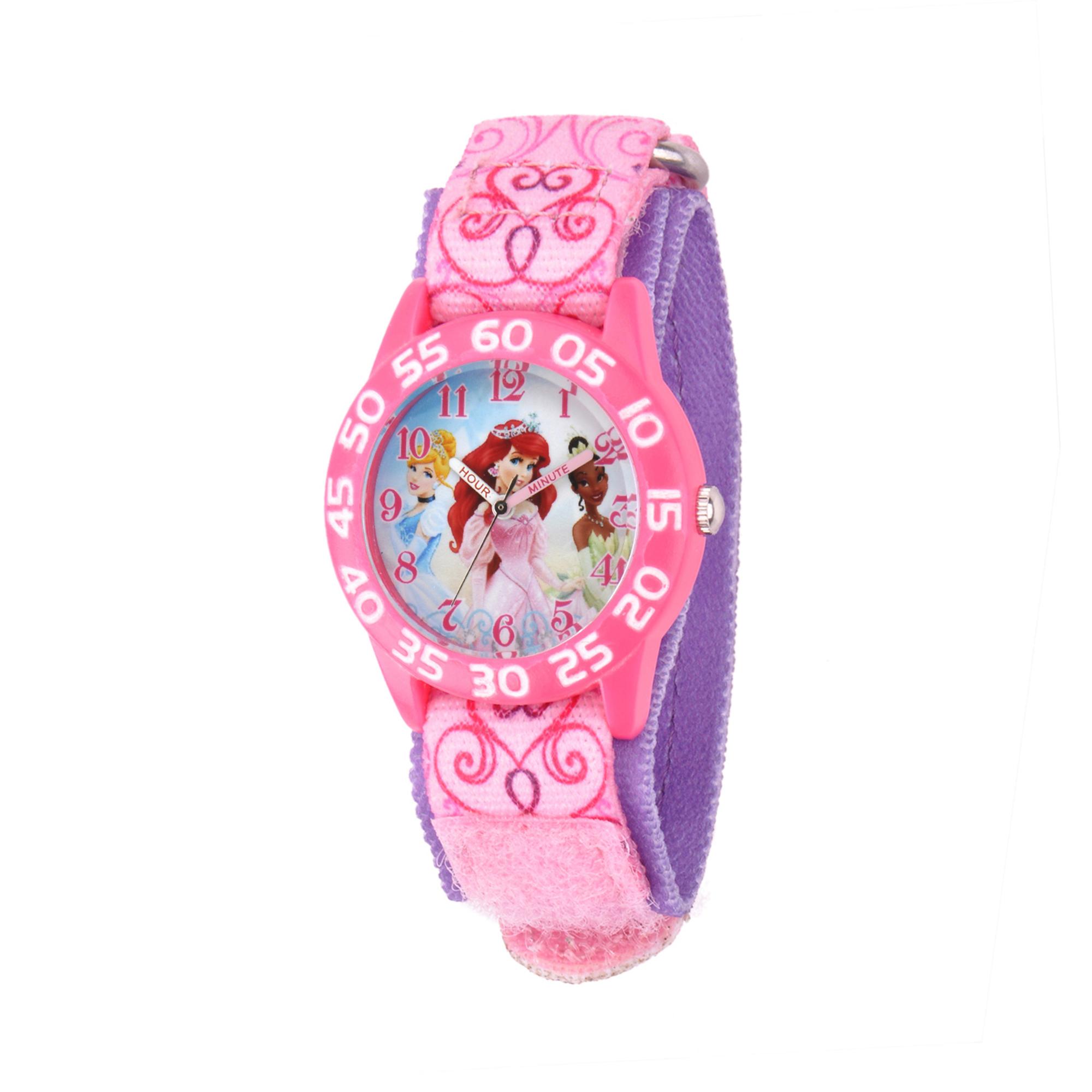 girls' disney princess cinderella-tiana & ariel telling time plastic/nylon watch