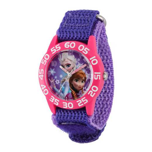 W001789: Plastic Gir Dis Froz ElsaAnna Watch Purple Nylon Strap