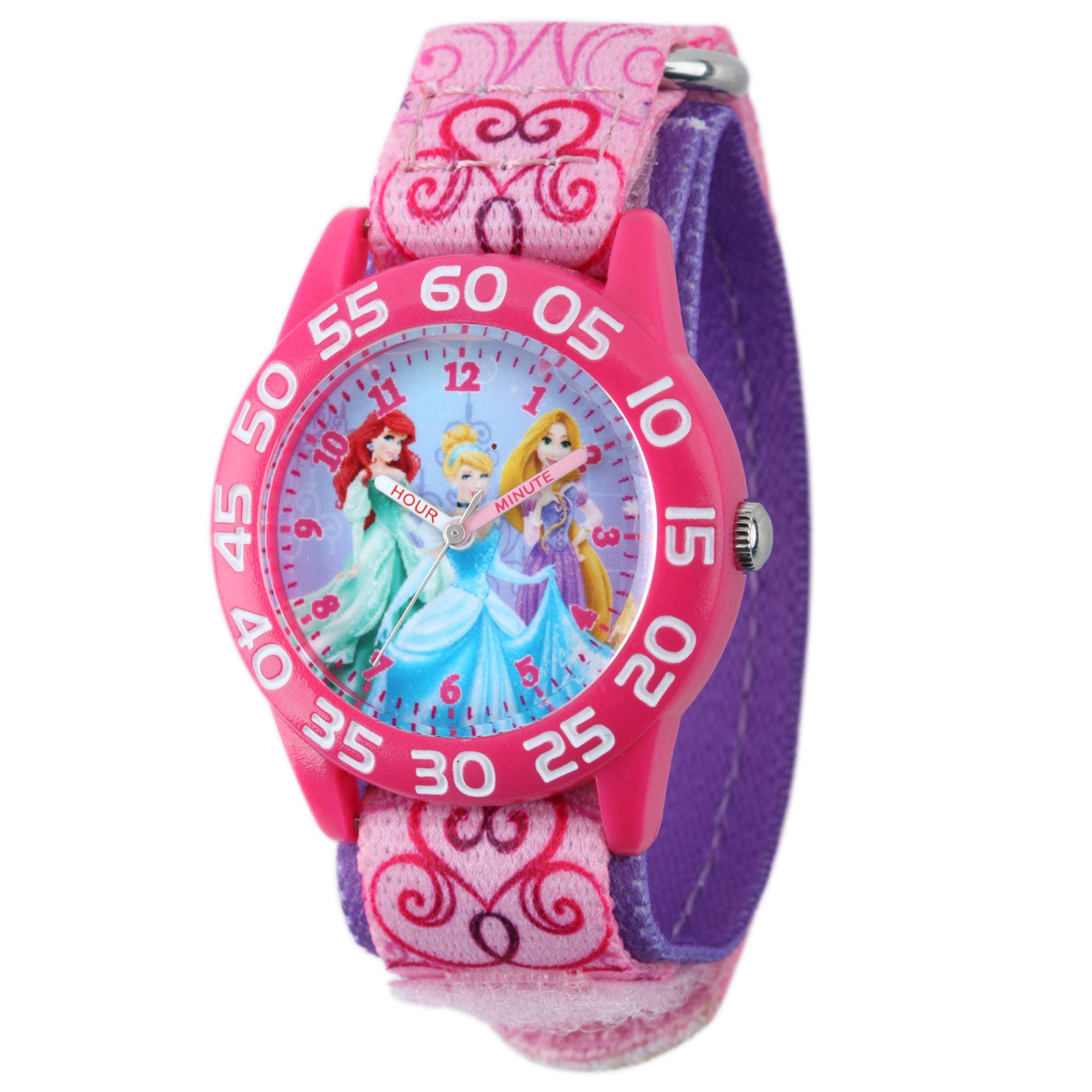 girls' disney princess ariel-rapunzel & cinderella telling time plastic/nylon watch
