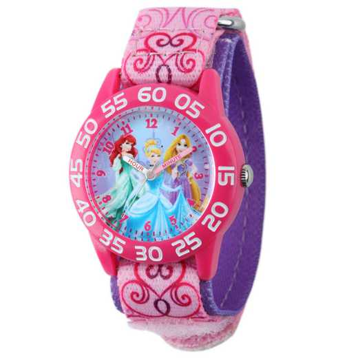 W001992: Plastic Girls Disney Princess Watch Pnk Prntd Nylon