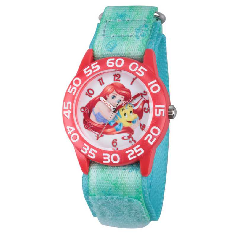 W002906: Plastic Girls Disney Ariel Red Green Watch Nylon Strap