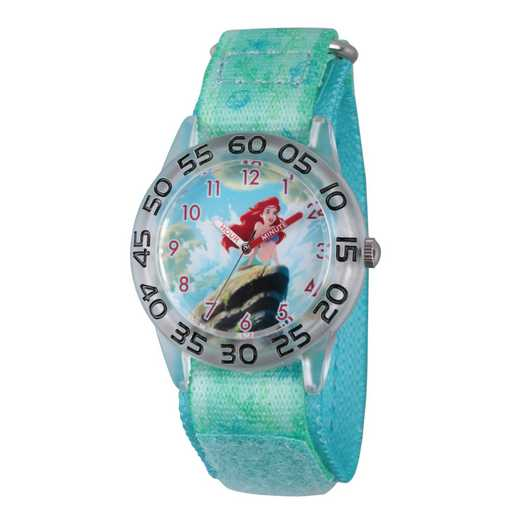 W002910: Plastic Girls DisneyAriel Clear Green Watch Nylon Strap
