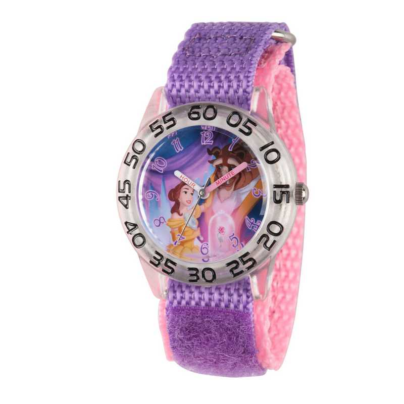 W002929: Plastic Gir Disney BelleBeast Clear Pnk/Purp Watch Ny