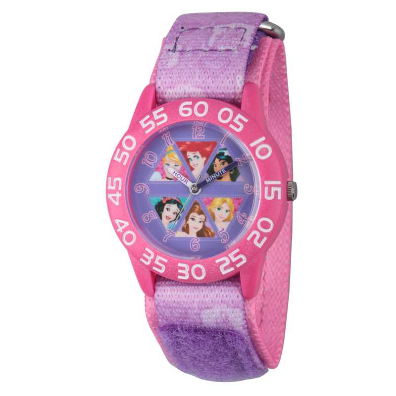 W002949: Plastic GirlsDisney Multi Prn Pink/Purple Nylon Watch