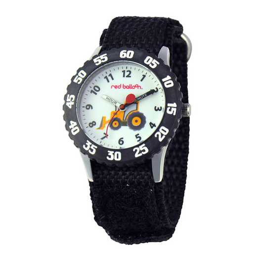 W000330: Red Balloon Boys STNLSTL Tractor Time Teach Watch