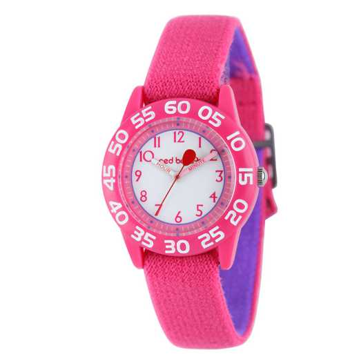 W001895: Red Balloon Girls Pink Plastic Time Teach Watch